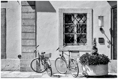 Photos gratuites de bicicleta, blanco y negro, ventanas