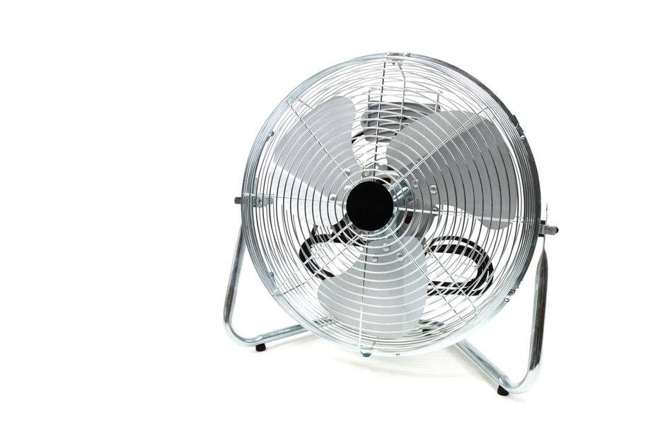 Gray Round Floor Fan