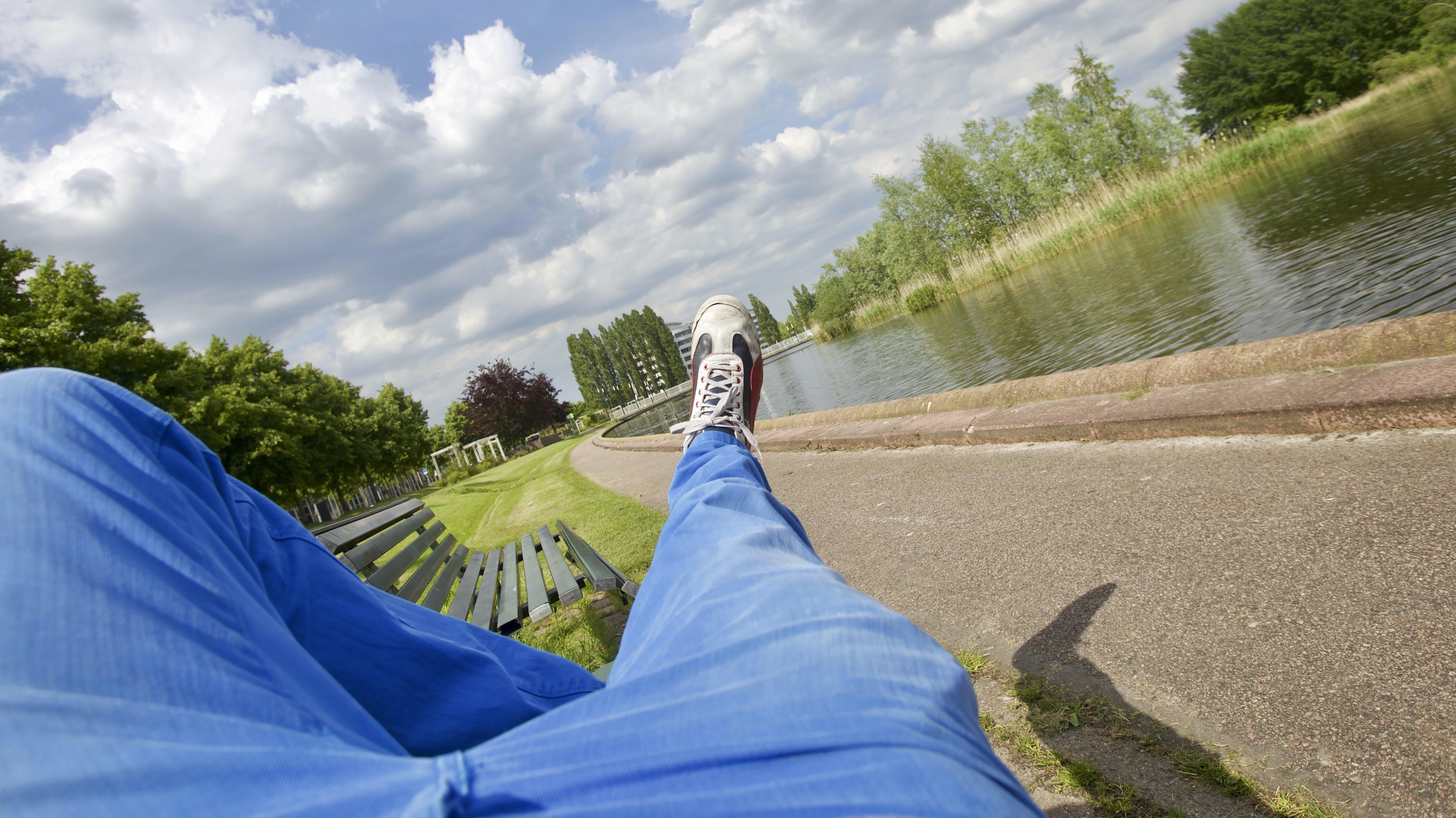 Person Wearing Blue Denim Pants