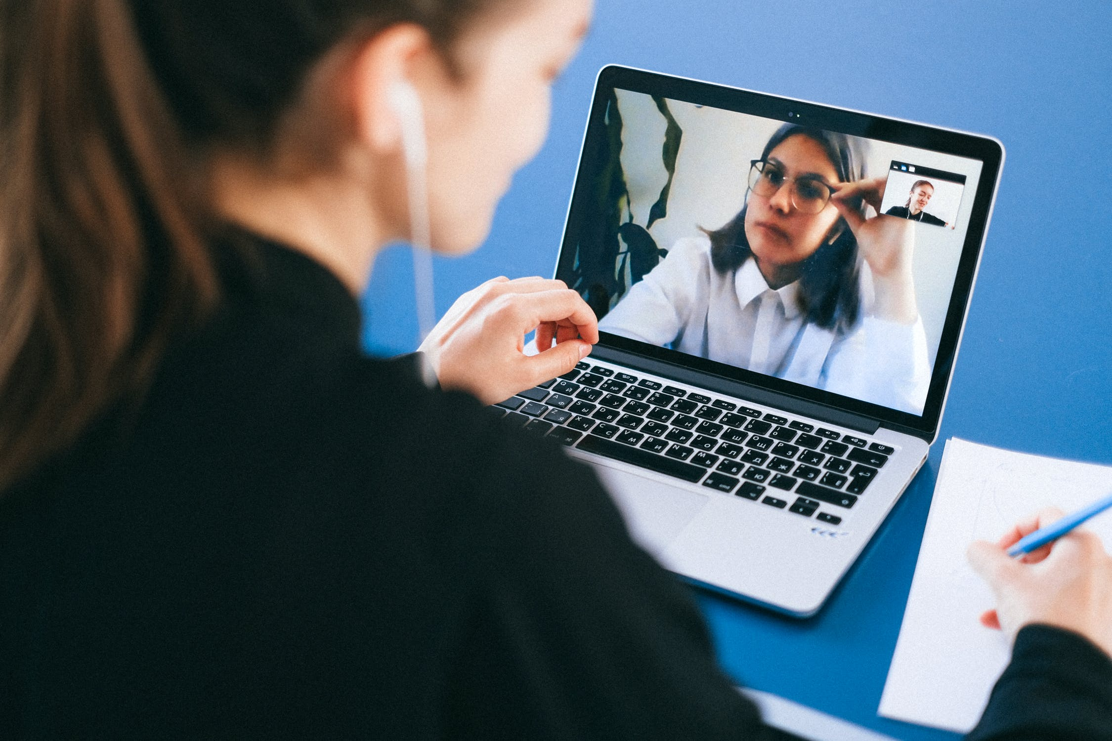 Two women on a video call