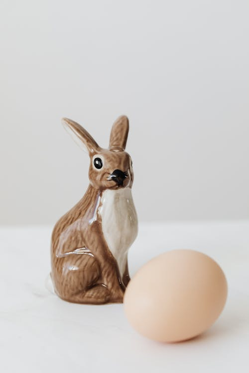 Brown Ceramic Rabbit and Egg