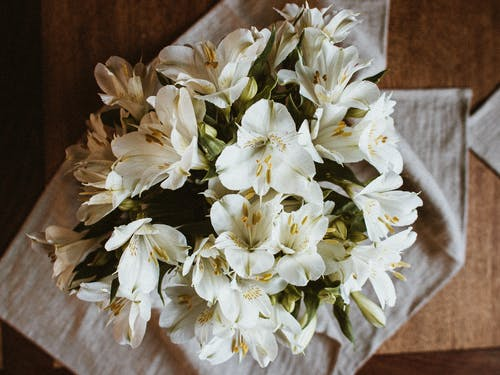 Bunch of fresh white Peruvian lily flowers on table