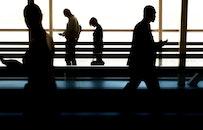 people, walking, silhouette