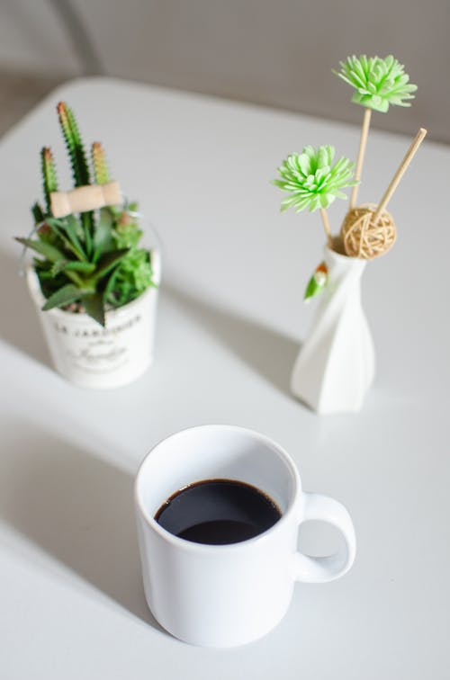 From above of mug of black coffee near potted cactus and ceramic vase with ornamental flowers on white table