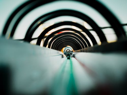 Modern style tunnel with motion effect under sky