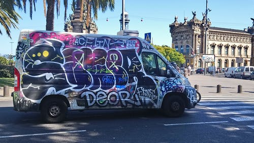 Free stock photo of barcelona, bus, car, spain