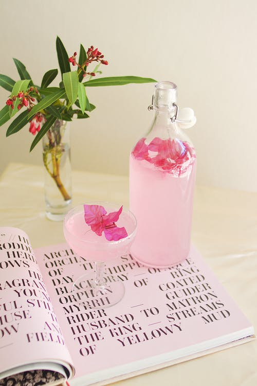 Pink Glass Bottle With Happy Birthday Greeting Card