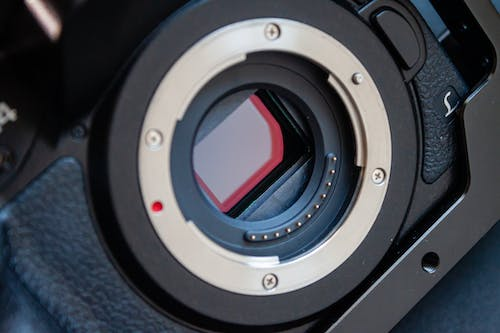 Lens of contemporary photo camera fixed with screws