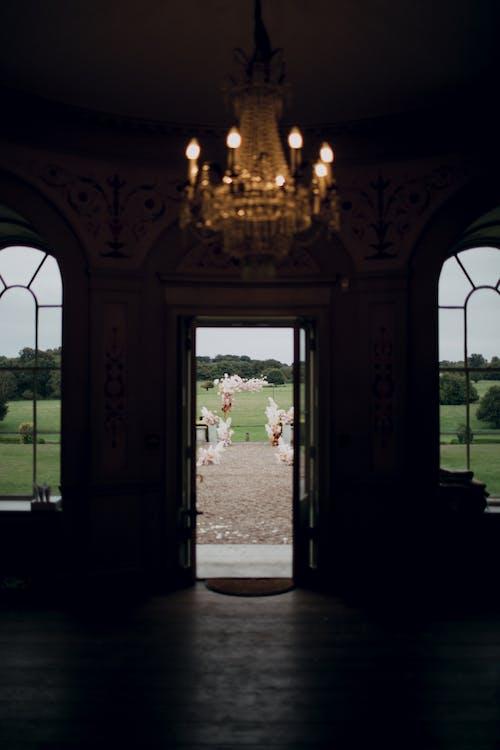 Wedding arch through open door