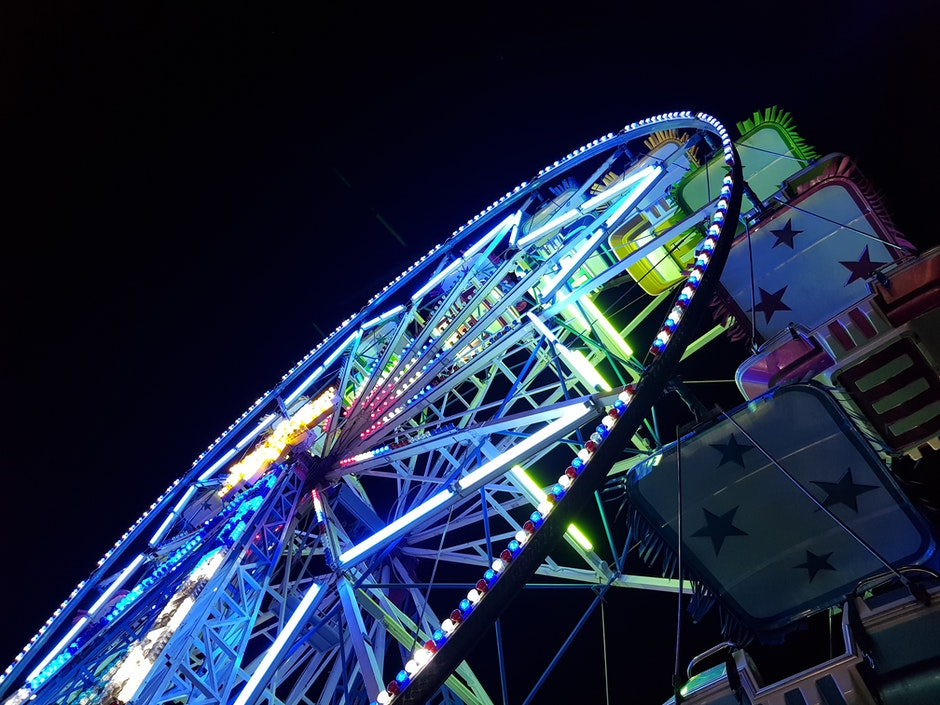 amusement park, big wheel, blur