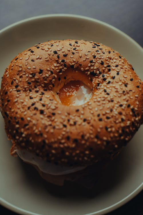 Yummy bagel with fried egg