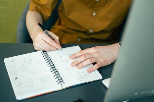坐, 寫生簿, 手, 插圖 的 免费素材图片
