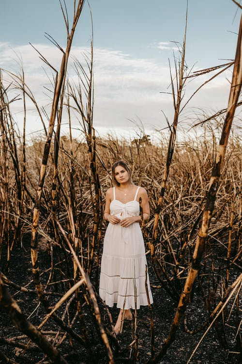 Woman in white dress standing on field with dry twigs