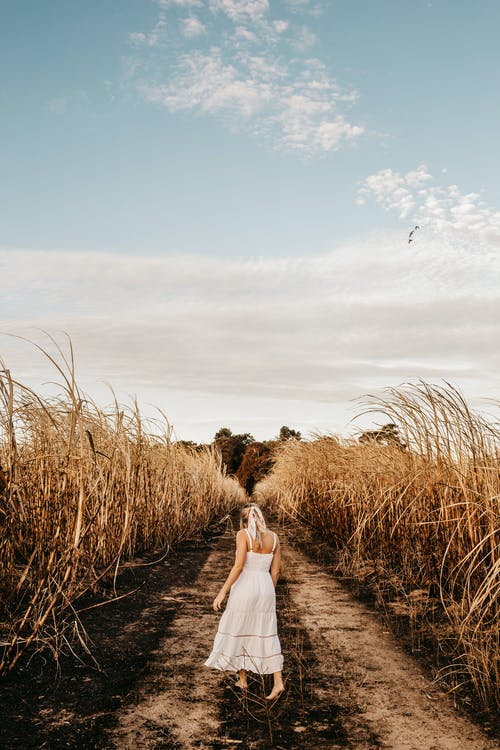Anonymous woman walking along rural road amidst agricultural fields