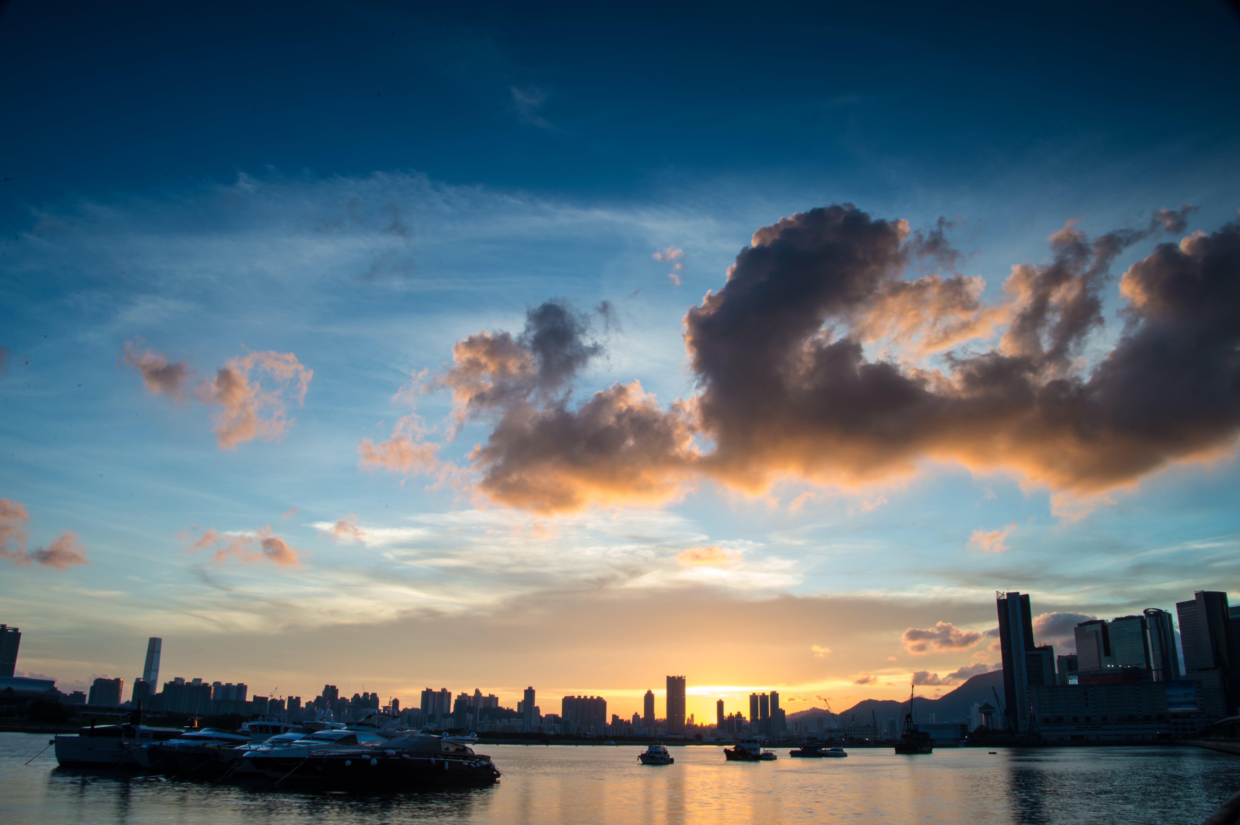 Free stock photo of light, sea, city, dawn