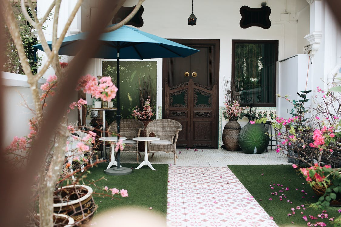 White Wicker Armchair Near Pink Flowers