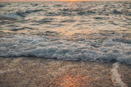 Foamy sea waves washing sandy shore during sundown