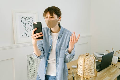 Woman Having Video Call on Smartphone