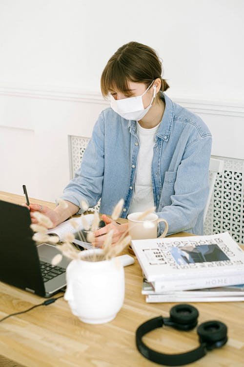 Woman in Face Mask Working at Home