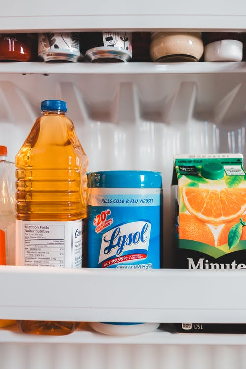 Assorted liquid products placed in fridge