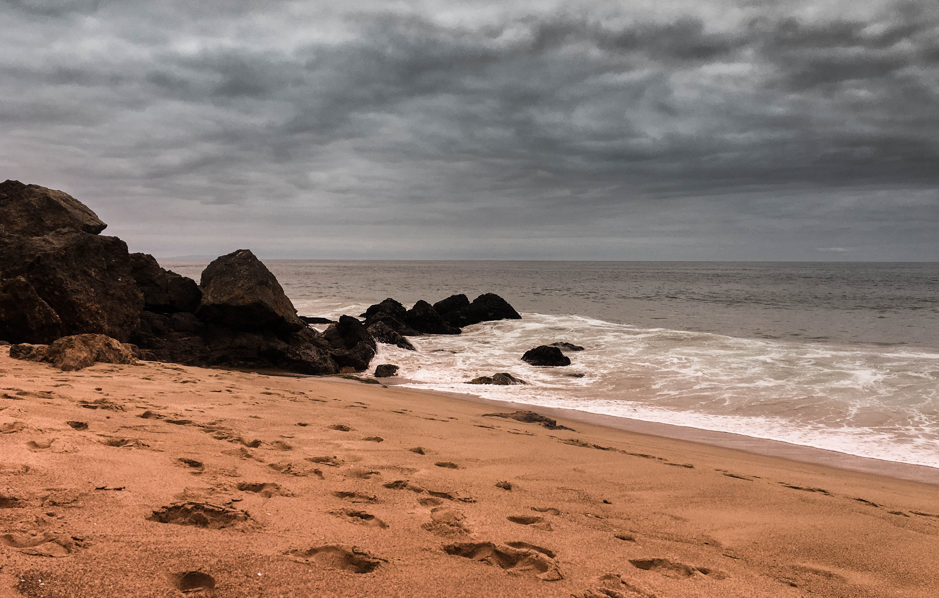 Free stock photo of beach, clouds, ocean, rocks