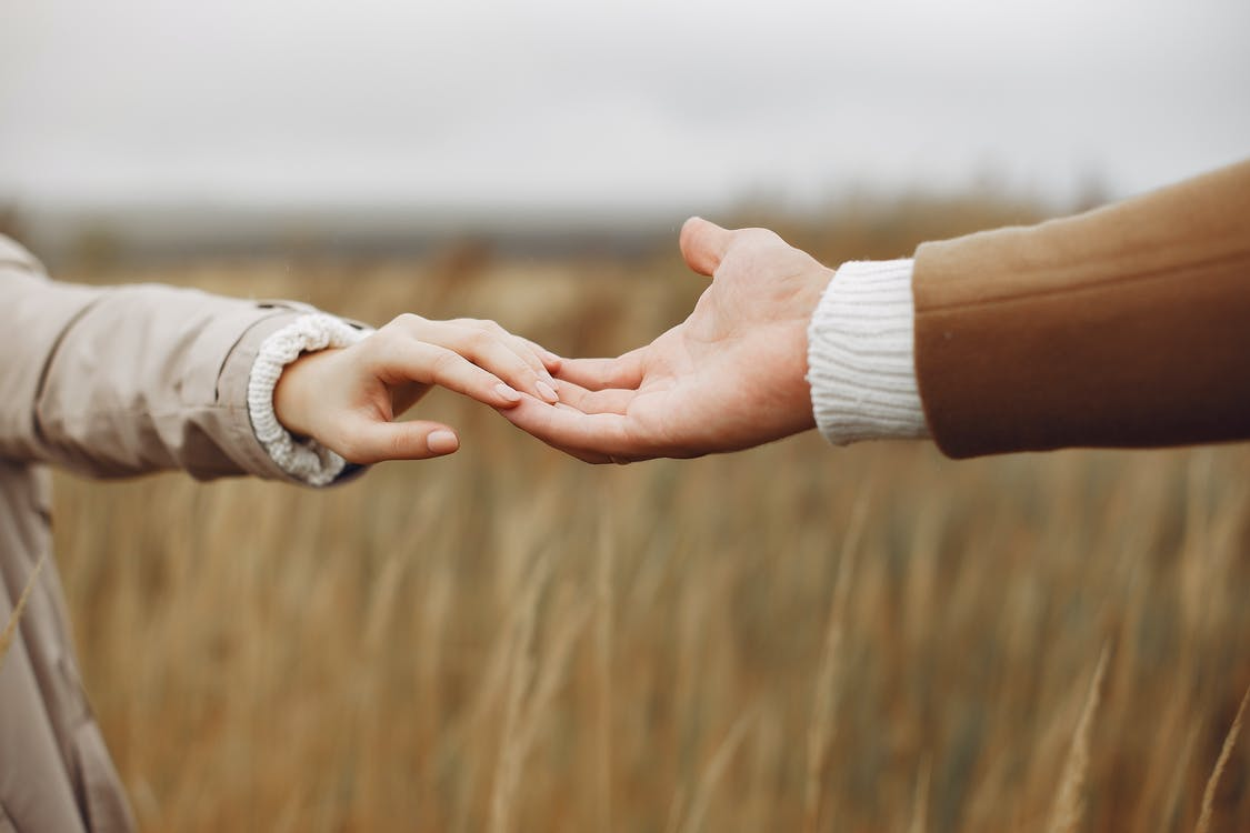 Young couple holding hands gently in field