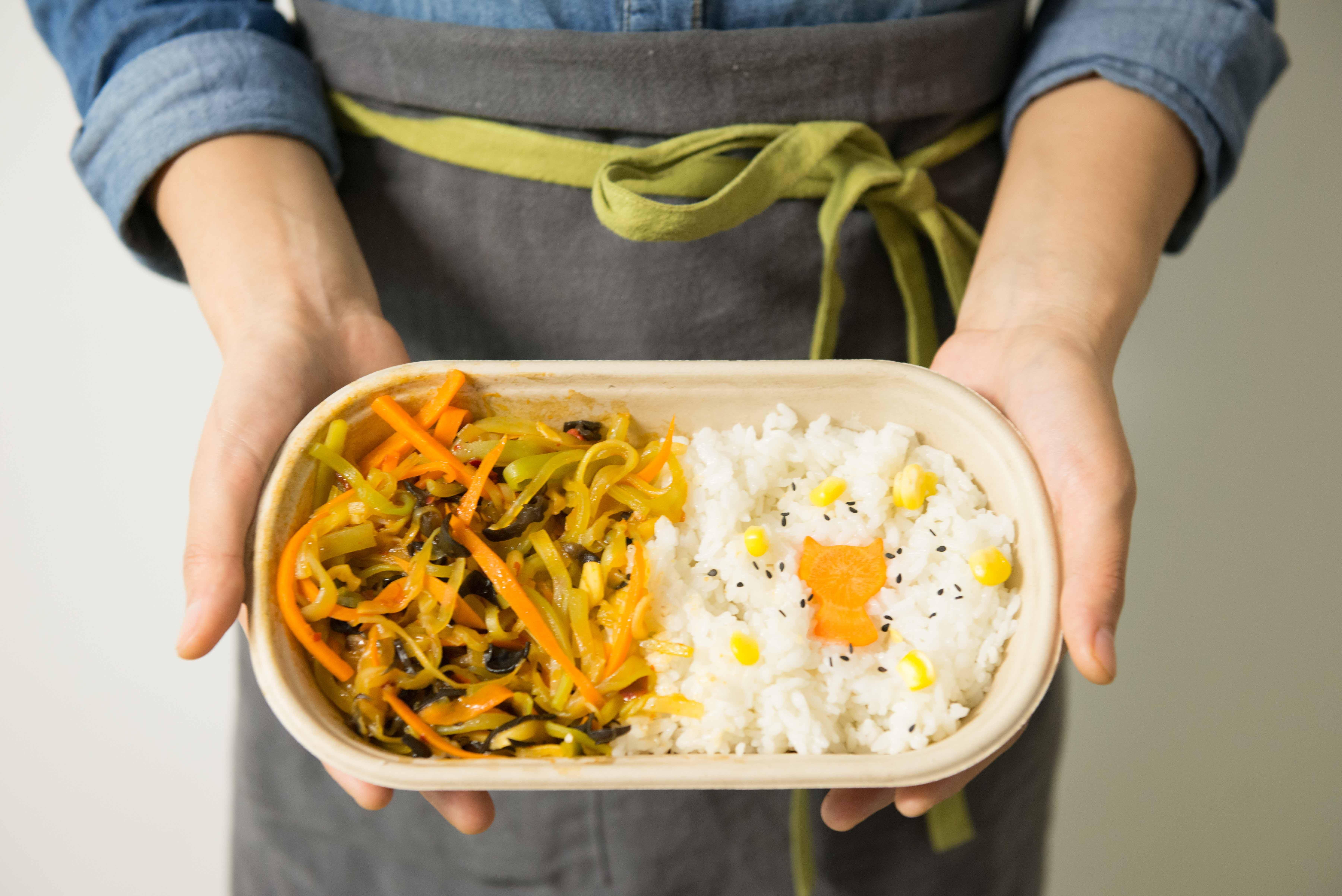 Kostenloses Stock Foto zu mittagessen, köstlich, reis, grüner salat