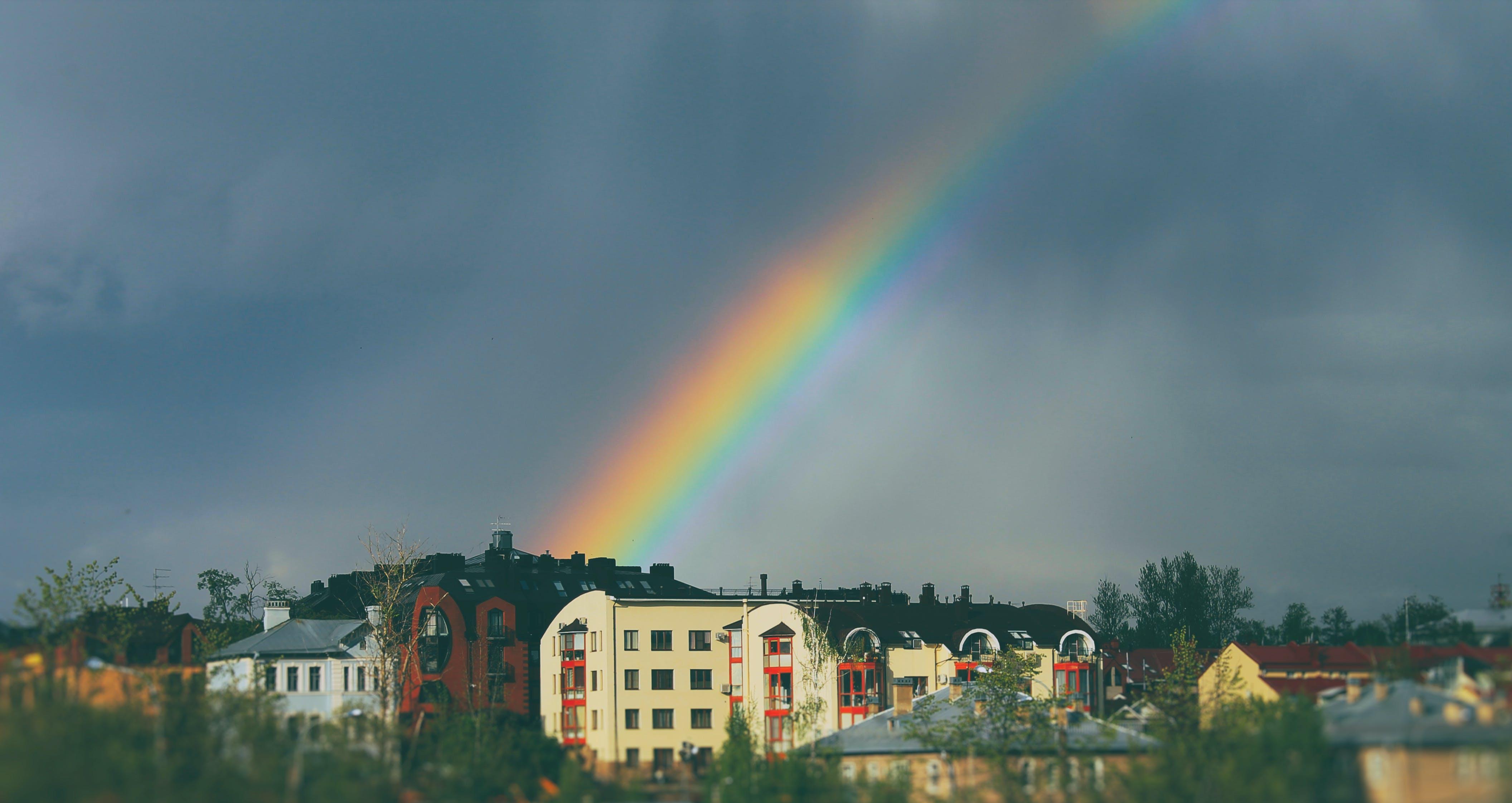 Rainbow on Sky over Buildings