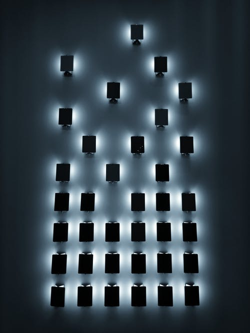 Luminous wall lamps in dark room