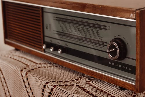 Vintage radio on table in apartment