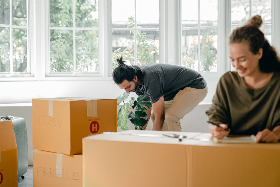 Positive young woman and focused man carrying cardboard boxes in new apartment on moving day