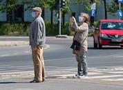 Seniors Wearing Masks in Street