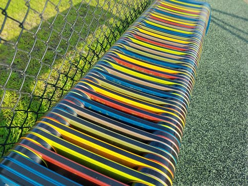 Free stock photo of colorful bench, park bench, seating