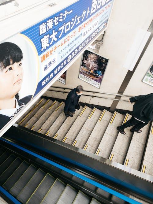 Modern escalator near stairs under signboard with inscription