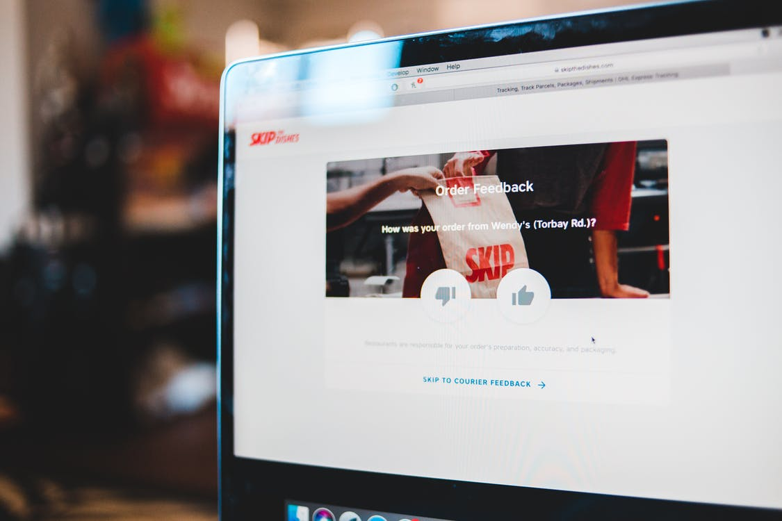 Computer screen with online shopping service