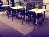 restaurant, street, flowers