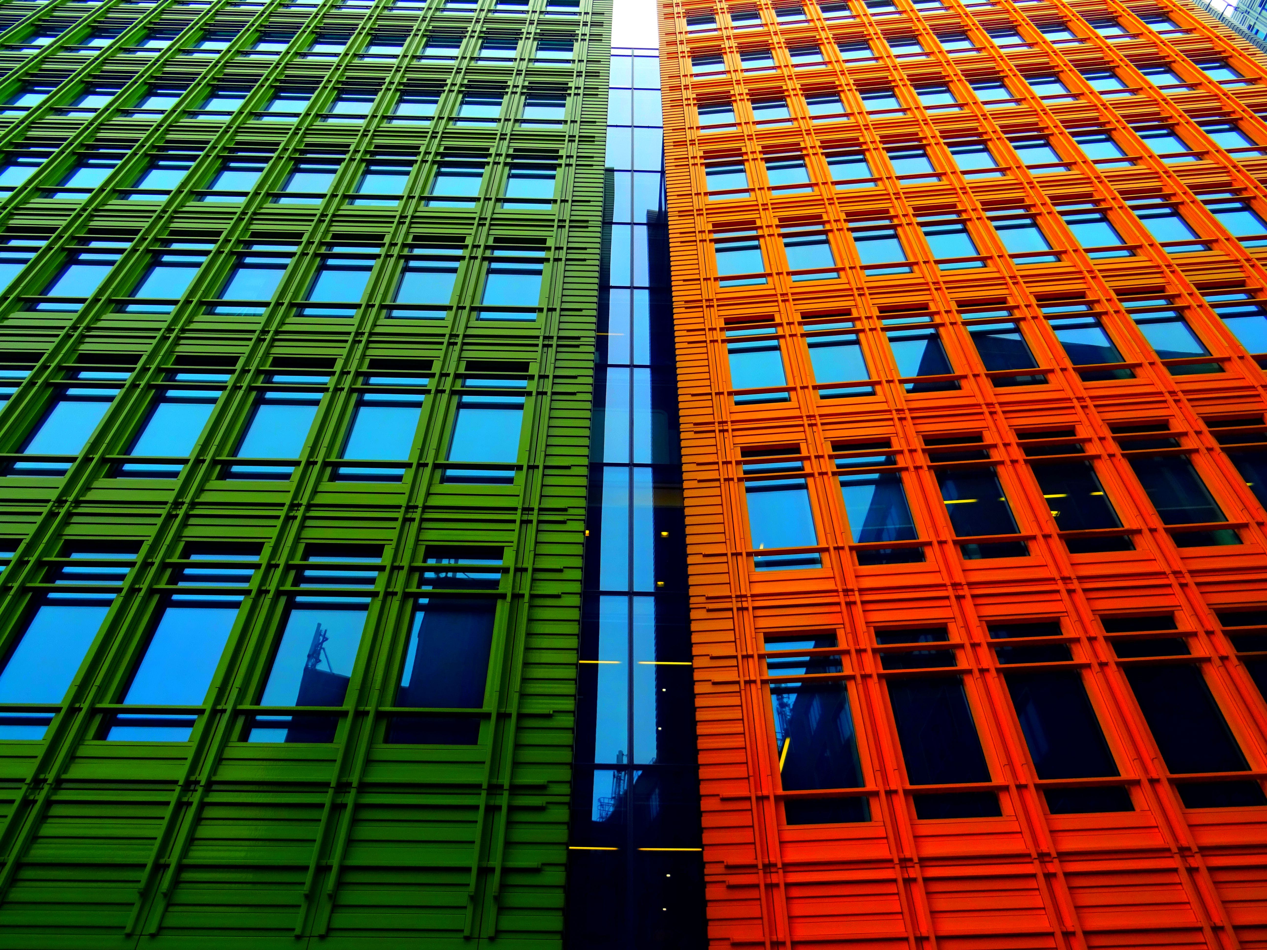 Orange and Green High-rise Buildings