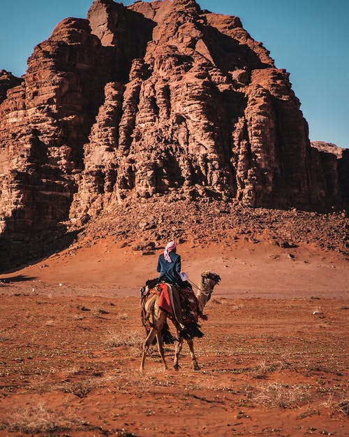 Man Riding Camel on Brown Sand