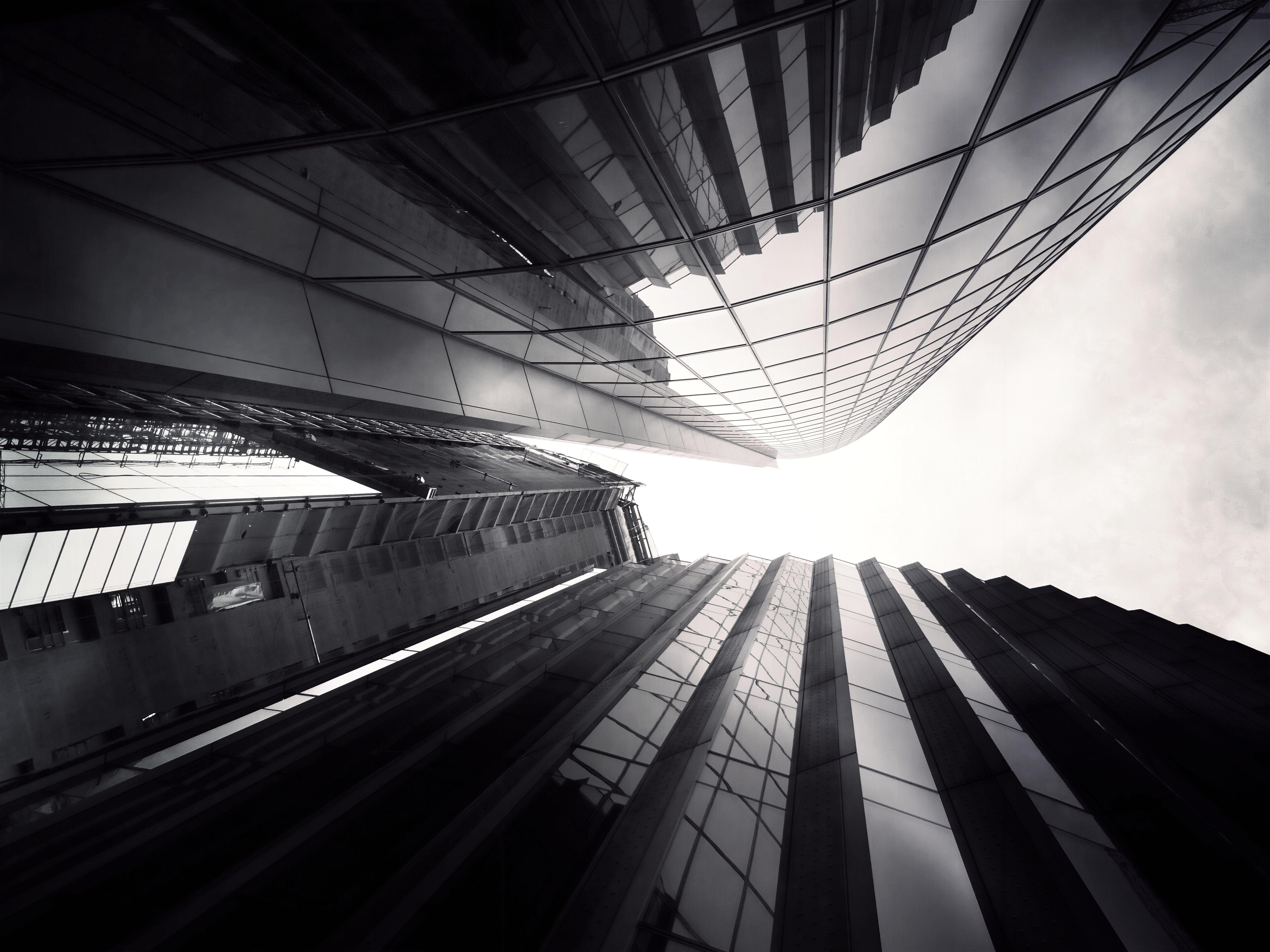 architecture, black-and-white, blur