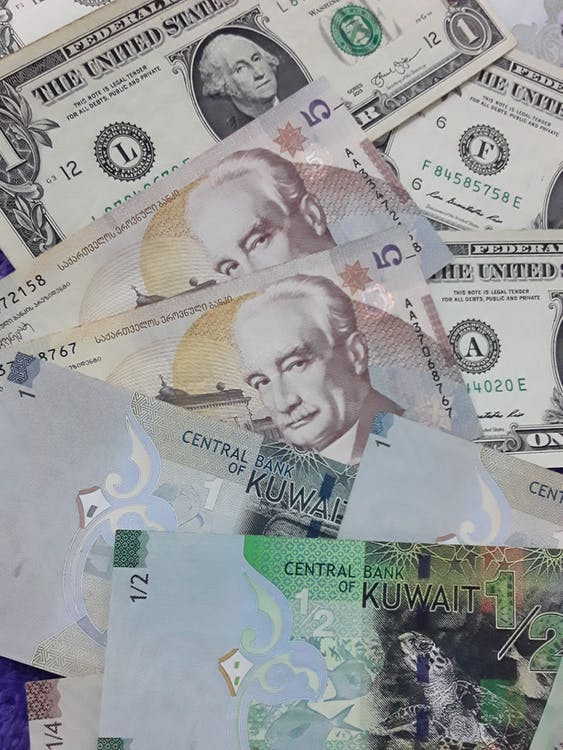Heap of banknotes of various counties