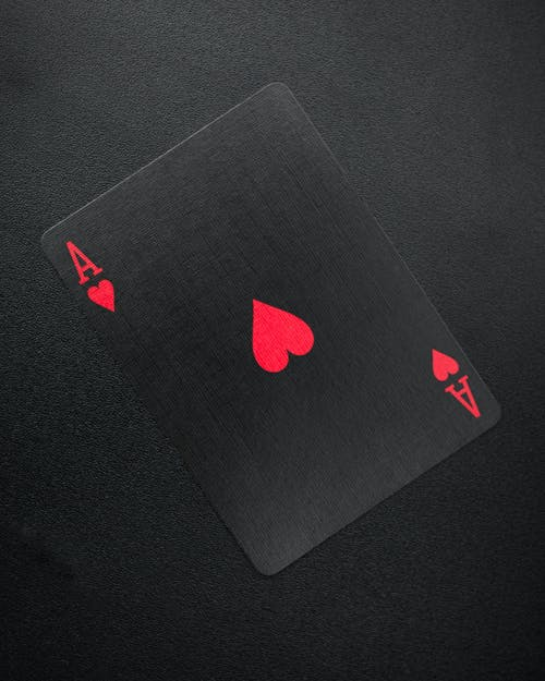 Ace of Hearts Card on Black Background