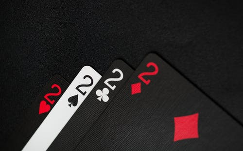 Playing Cards on a Black Background