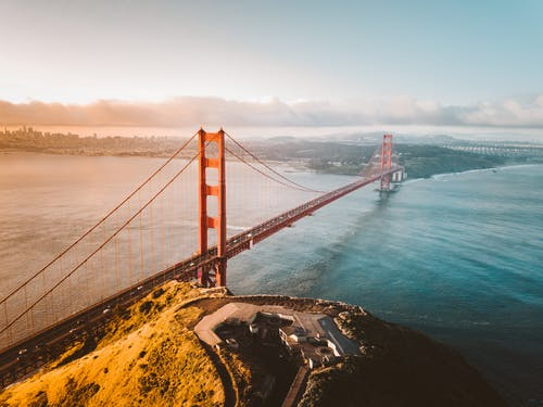 Aerial View of the Famous Golden Gate Bridge in San Francisco