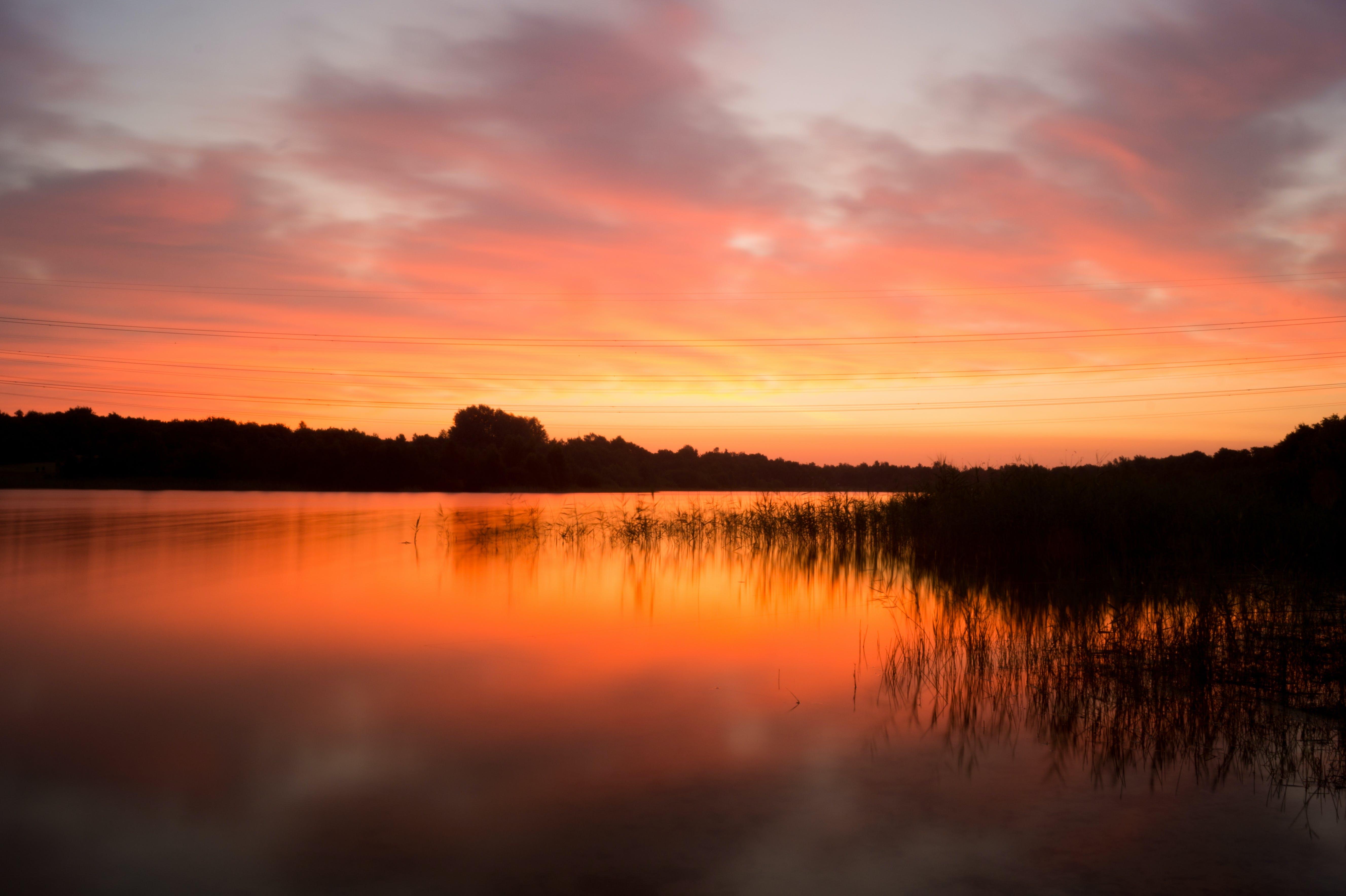 dawn, dust, lake
