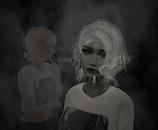 girl, smoking, black and white