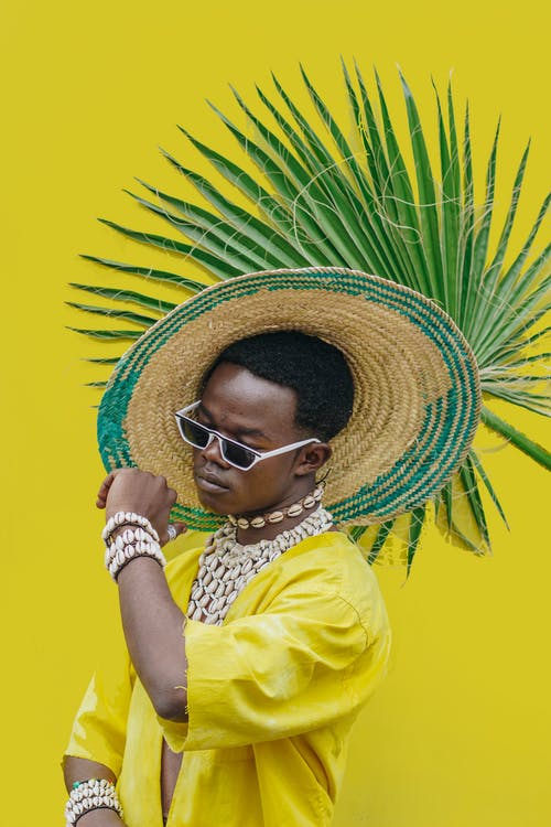 Woman in Yellow Shirt Wearing Brown Straw Hat and Black Sunglasses