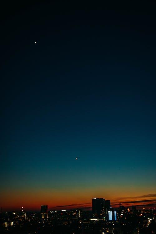 açık, akşam, akşam karanlığı, ay içeren Ücretsiz stok fotoğraf