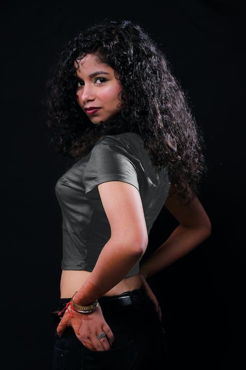 Stylish gorgeous ethnic woman in studio