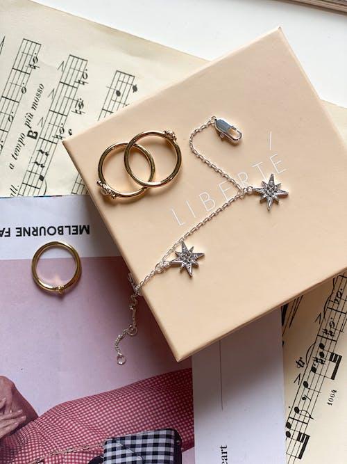 Gold Ring on White Box
