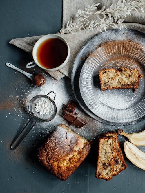 Delicious banana bread and tea for breakfast